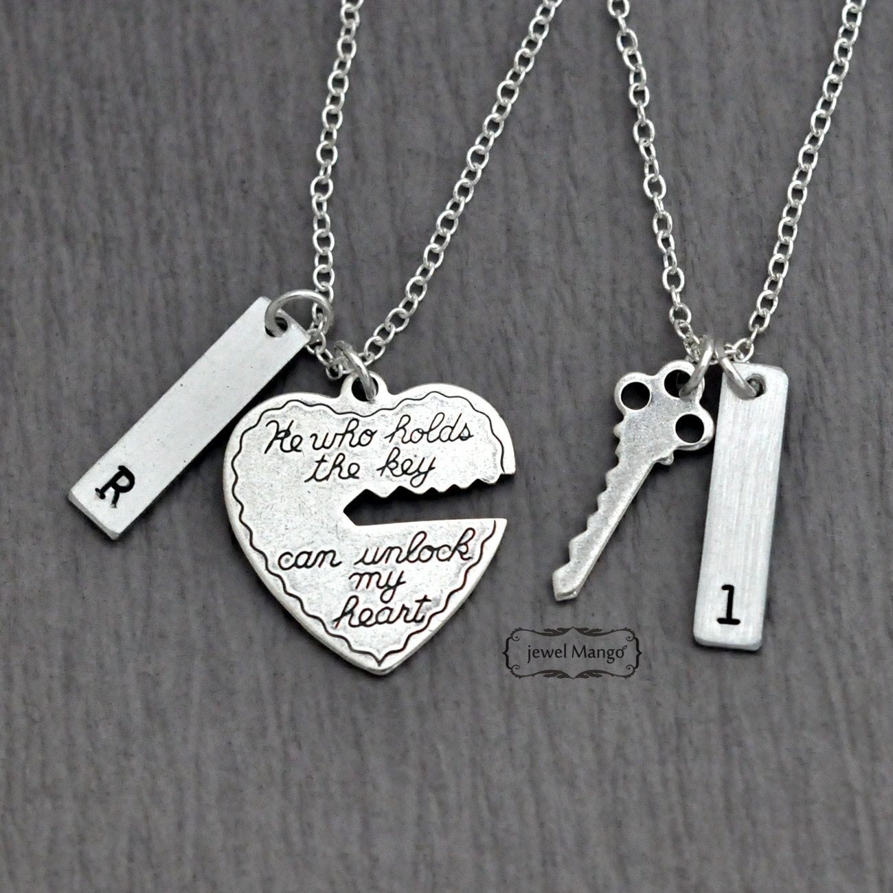 Key To My Heart Couple Necklace Valentines Day Mr Etsy