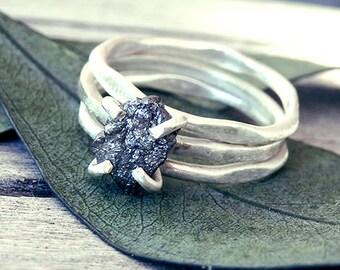 Raw diamond ring, black diamond ring, raw black diamond ring, diamond ring, engagement ring, promise ring, wedding ring, rings set, rustic