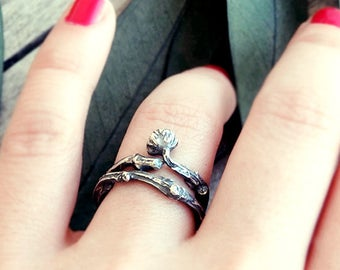 Twig ring, organic ring, elvish ring, aetherial ring, branch ring, rings set, double ring,  minimal ring, natural ring, earthy ring, forest