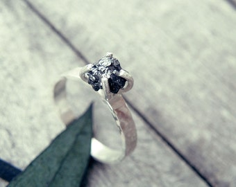 Black diamond ring, Raw diamond ring, raw black diamond, minimal ring, promise ring, raw stone engagement ring, raw stone, rough diamond