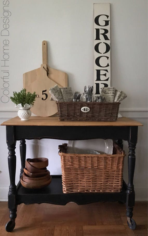 SOLD Rolling Kitchen Cart, Beverage Cart, Entry Table, Server, Farmhouse  Sideboard, Wood Cart, Portable Kitchen Island, Pick Up Only