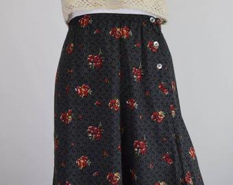 Dots & Geranium Flower High Waisted Skirt