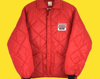 Red 70s Vintage Quilted Coach Jacket By Tamarack Size L