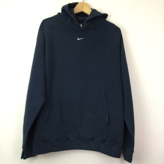 Vintage Nike Center Swoosh Navy Blue Hoodie