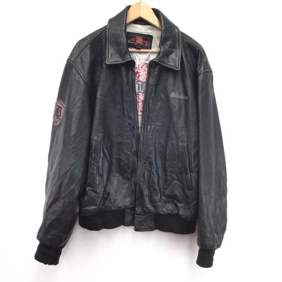 "Leather ""Redskins"" Motorcycle Jacket"