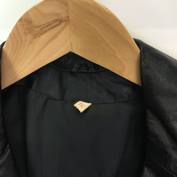 Vintage 1970s Black Leather Trench Coat - image 3