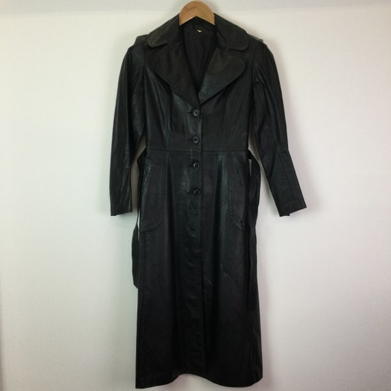 Vintage 1970s Black Leather Trench Coat - image 2