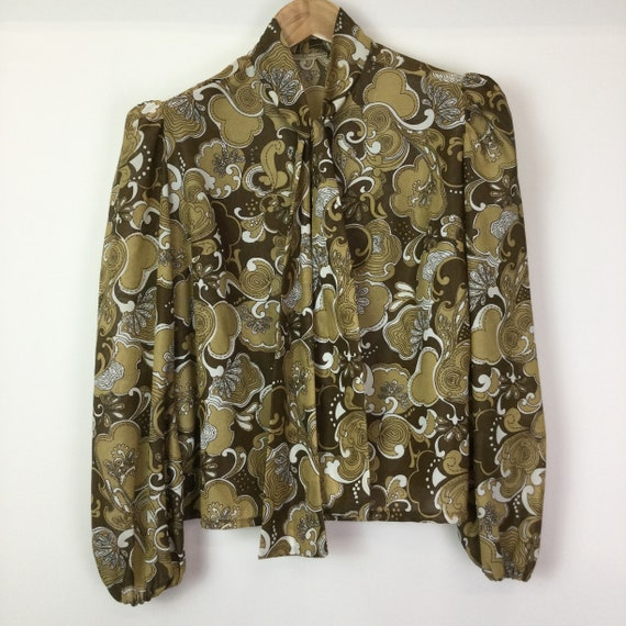 Vintage 1970's Brown Psychedelic Blouse