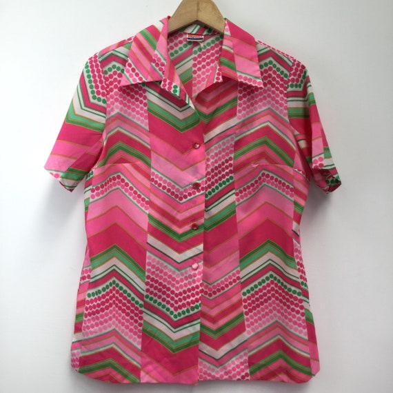 Vintage 1970's Pykettes Pink & Green Blouse