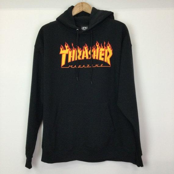 Thrasher Logo Black Flame Hoodie