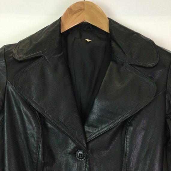 Vintage 1970s Black Leather Trench Coat - image 4
