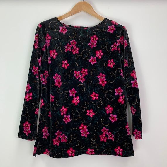 Vintage 2000s Black /& Pink Velvet Floral Top