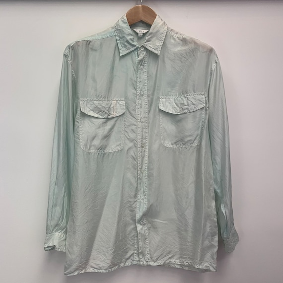 Blair medium m silky minimalist soft grunge blouse 90s Vintage Black Satin T Shirt