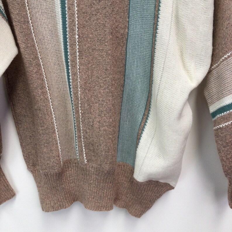 Vintage 1980s Cream /& Green Stripe Knitted Jumper