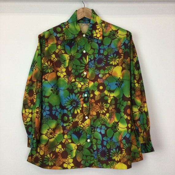 Vintage 1960's Psychedelic Flower Power Blouse