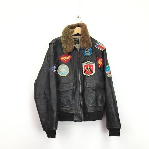 Vintage Avirex G1 Leather Aviator Flight Jacket