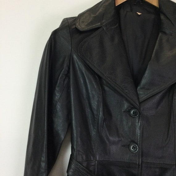 Vintage 1970s Black Leather Trench Coat - image 5