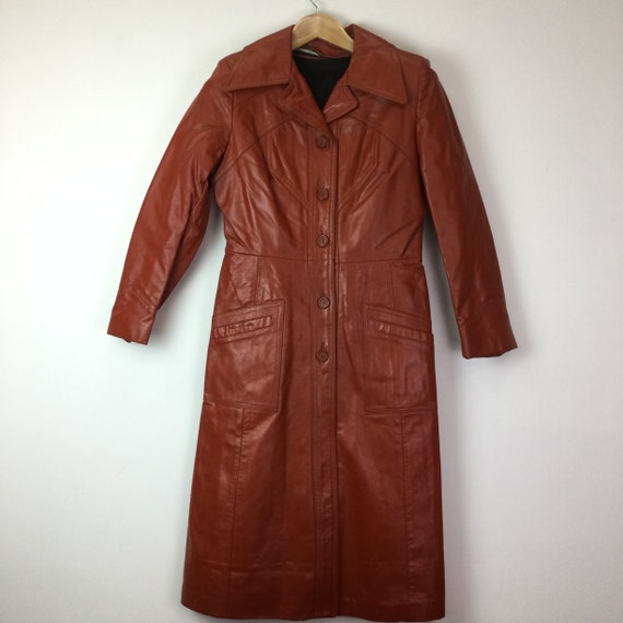 Vintage 1970's Orange Tan Lined Leather Trench Coa
