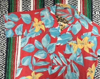 Floral Hawaiian Shirt With Cheetah Back Print