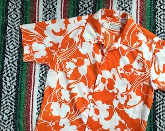 Orange & White Floral Hawaiian Shirt