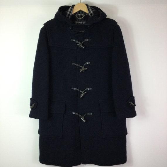 Vintage 1980s Navy Burberry Wool Duffle Coat