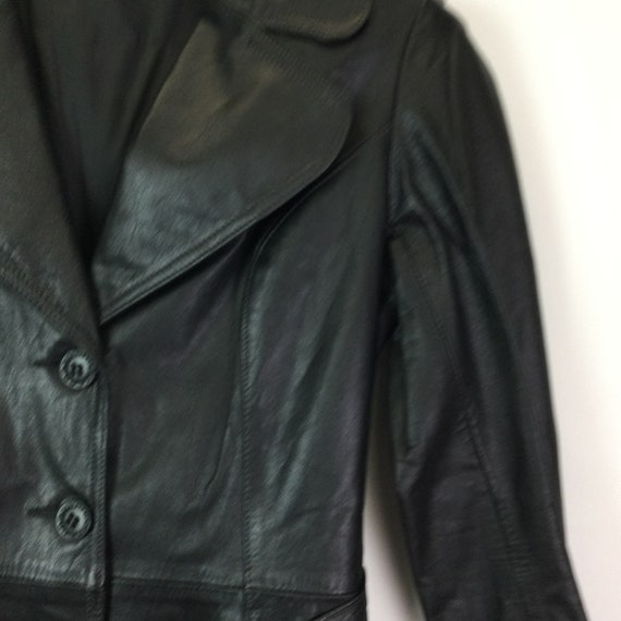 Vintage 1970s Black Leather Trench Coat - image 6