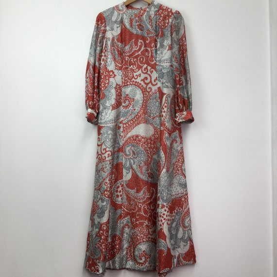 Vintage 1970's Red Glitter Printed Maxi Dress
