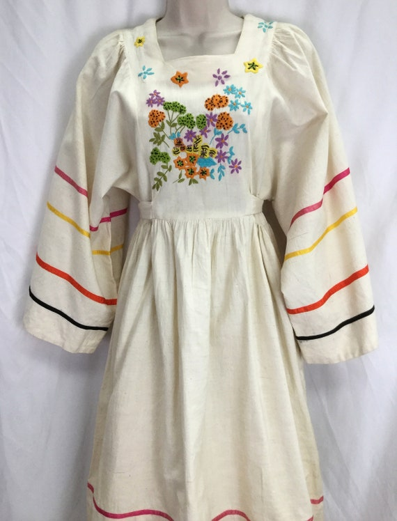 Vintage Boho Embroidered Calico Gypsy Dress