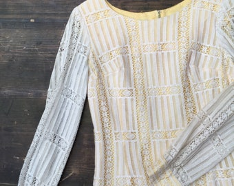 Long Sleeved 1960s Lace Shift Dress