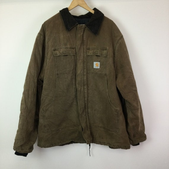 Vintage 1990s Carhartt Brown Canvas Quilted Coat