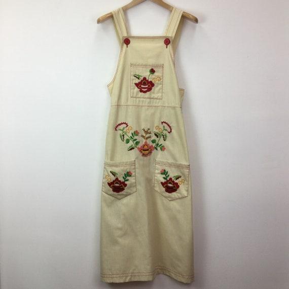 Vintage 1970's Folk Art Embroidered Pinafore