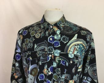 Watch Print Denim Shirt