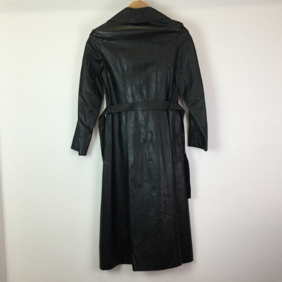Vintage 1970s Black Leather Trench Coat - image 8