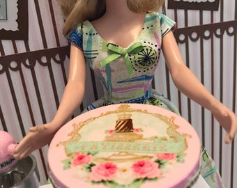 Miniature Shabby Chic Cake Stand BARBIE Playscale 1:6 Scale Pink & Mint Green Floral