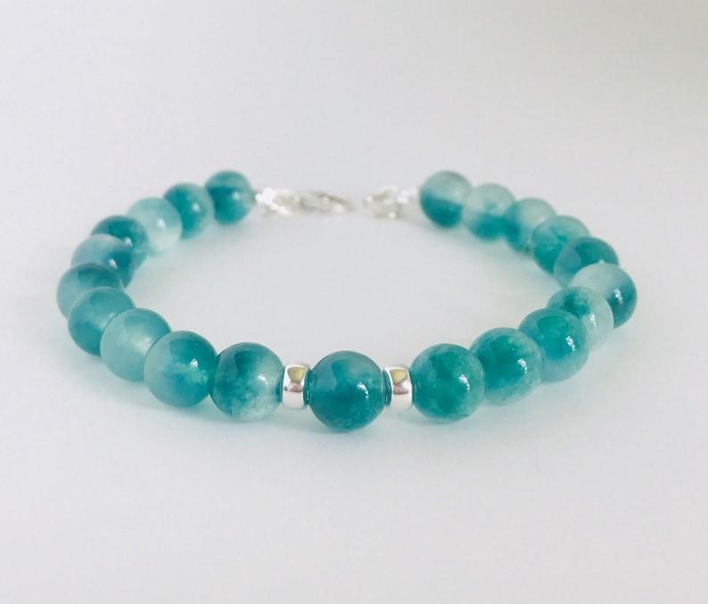 Sea green mashan jade and sterling silver bracelet image 0