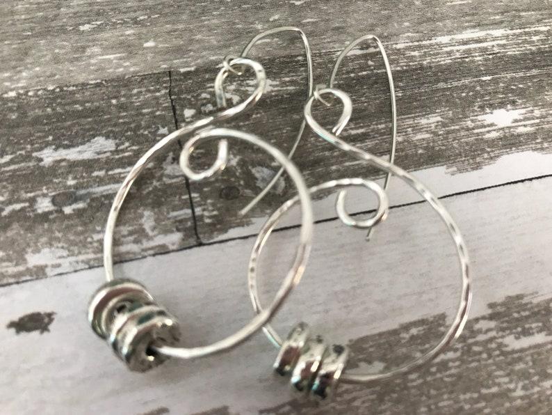 Silver swirl and Mykonos bead earrings image 0