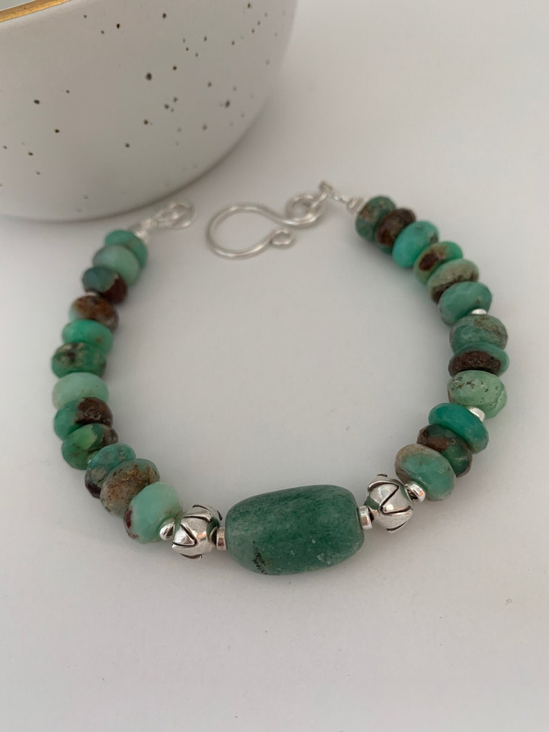 Green Chrysoprase agate and sterling silver bracelet image 0