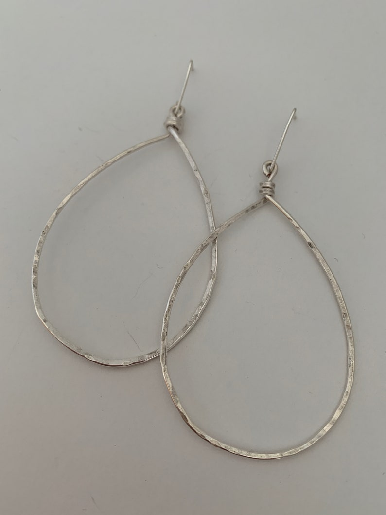 Large silver teardrop earrings image 0