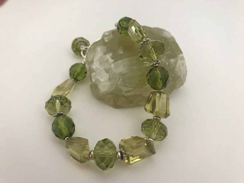Lemon Lime Quartz & Sterling Silver Bracelet image 0