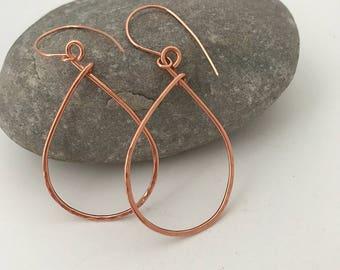 Cora copper teardrop earrings
