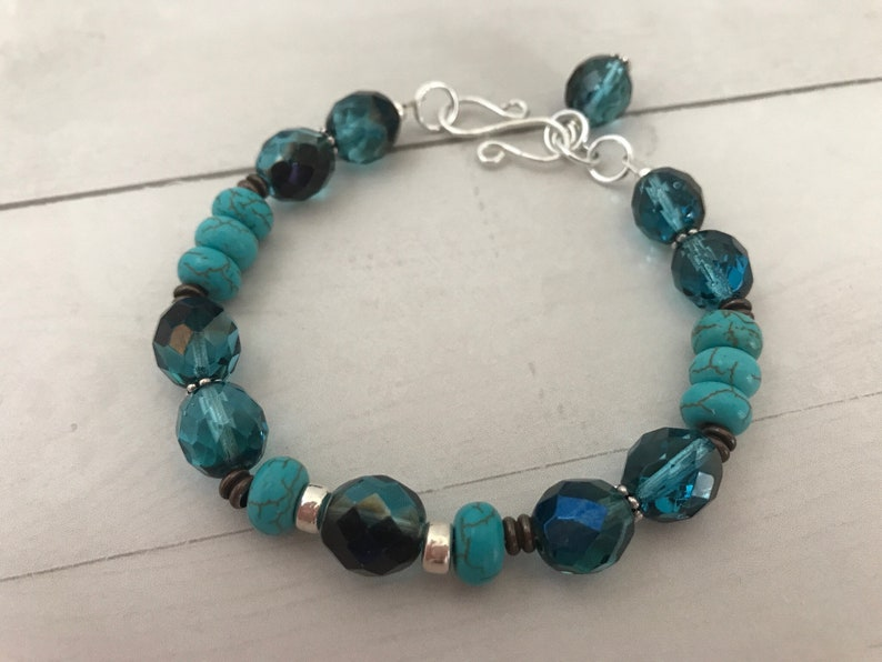 Turquoise and chocolate silver bracelet image 0