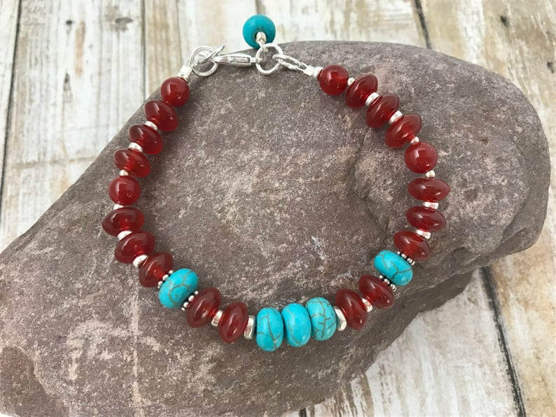 Red carnelian agate and turquoise silver bracelet image 0
