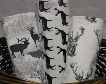 Woodland Swaddle Blanket, Deer Swaddle Blanket, woodlands theme,  buck swaddle blanket set, deer nursery decor