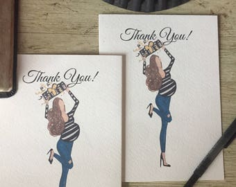 Baby Shower Thanks, Baby Shower Thank You Cards, Pregnant stationary, Thank You cards,  Pregnant woman Art, New Mom gift,