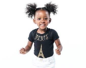 Eiffel Tower BabyBody Suit, Glitter Eiffel Tower  Shirt, Paris theme, Paris Eiffel Tower newborn coming home outfit, glitter paris