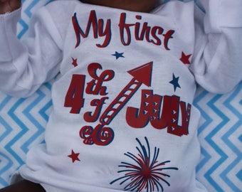 My First 4th of July, baby 4th of July, 4th of July baby shower, 4th of July infant t-shirt, 4th of July onesie