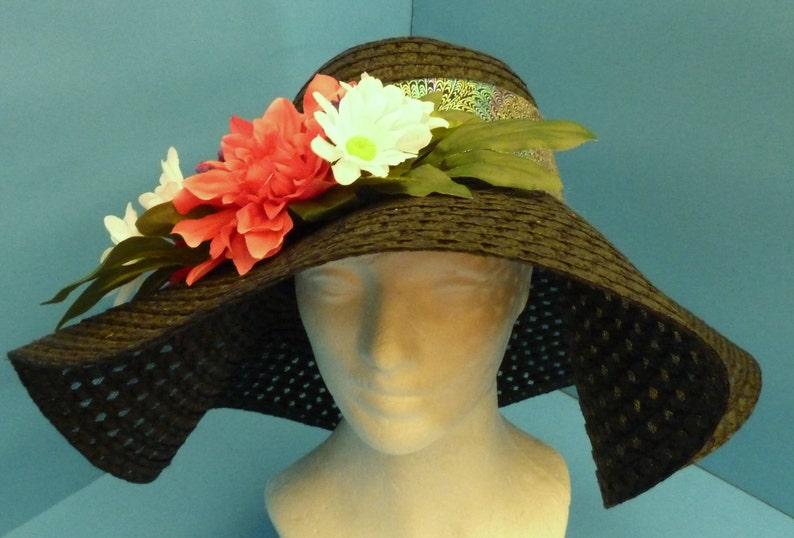 bd552feb Hat Summer Hat Church Hat Black Hat with a multicolor band   Etsy