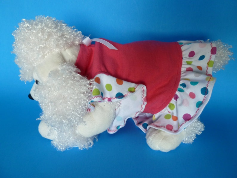 Dog Clothes Small Puppy Dress Puppy Clothes in a Hot Pink Bodice and a frilly ruffle in a Polkadot motif and a cute White bow