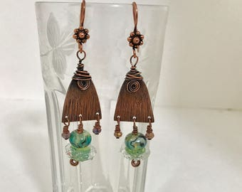 Handmade Copper Earrings with Artisan Lampwork Glass Beads and Crystals, Wirewrapped - OOAK