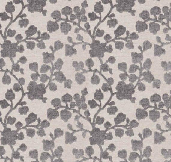 Grey Floral Velvet Upholstery Fabric Raised Velvet Fabric Etsy
